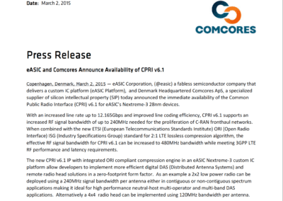2015-03-02 | eASIC and Comcores Announce Availability of CPRI v6.1