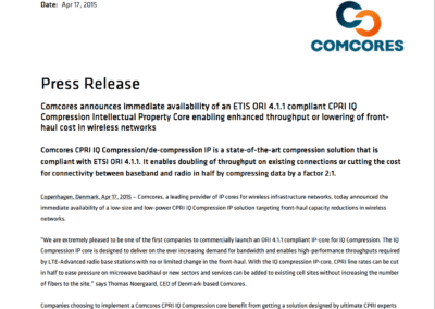 2015-04-17 | Comcores release ORI compliant IQ Compression IP-core