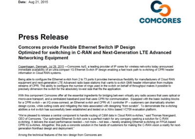2015-08-21 | Comcores release Lite 1G Ethernet Switch that supports up to 73 ports
