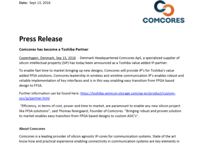 2016-09-13 | Comcores joins Toshiba IP alliance