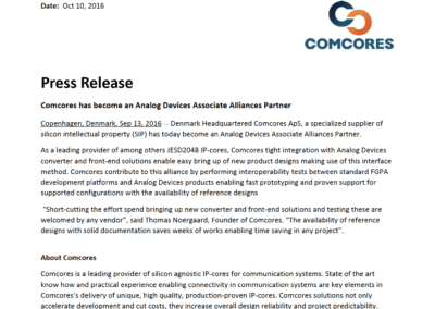 2016-10-10 | Comcores has become an Analog Devices Associate alliances partner