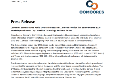 2016-12-07 | Comcores demonstrates Radio-Over-Ethernet and L1 offload solution live