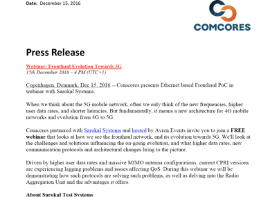 2016-12-15 | Comcores presents Ethernet based Fronthaul PoC in webinar with Sarokal Systems
