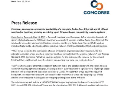 2017-03-15 | Comcores announces commercial availability of a complete RoE solution