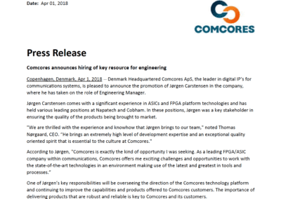 2018-04-01 | Comcores gets skilled engineering manager