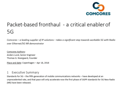 2018-04-18 | Packet-based fronthaul for 5G whitepaper