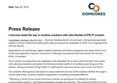 2018-05-08 | Comcores release ultra-flexible eCPRI IP solution