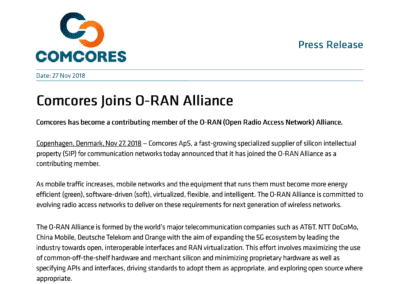 2018-11-27 | Comcores joins O-RAN Alliance