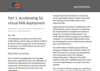 Comcores releases a Whitepaper providing an overview of the O-RAN Alliance and the value provided by O-RAN to the wireless infrastructure industry