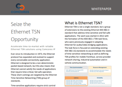 Accelerate time-to-market with reliable Ethernet TSN solutions using Comcores IP