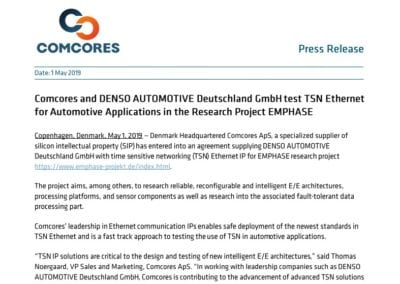 Comcores and DENSO AUTOMOTIVE Deutschland GmbH test TSN Ethernet for Automotive Applications in the Research Project EMPHASE